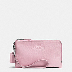 COACH F64130 Double Corner Zip Wristlet In Pebble Leather SILVER/PETAL
