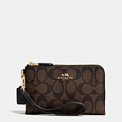 COACH F64131 Double Corner Zip Wristlet In Signature Coated Canvas LIGHT GOLD/BROWN/BLACK