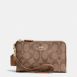 COACH F64131 Double Corner Zip Wristlet In Signature Coated Canvas LIGHT GOLD/KHAKI/SADDLE