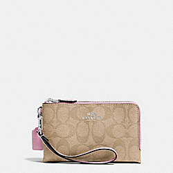 COACH F64131 Double Corner Zip Wristlet In Signature Coated Canvas SILVER/LIGHT KHAKI/PETAL