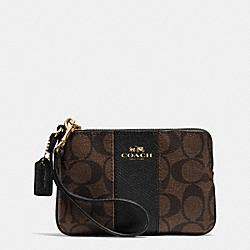 COACH F64233 Corner Zip Wristlet In Signature Coated Canvas With Leather LIGHT GOLD/BROWN/BLACK