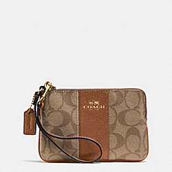 COACH F64233 Corner Zip Wristlet In Signature Coated Canvas With Leather IMITATION GOLD/KHAKI/SADDLE