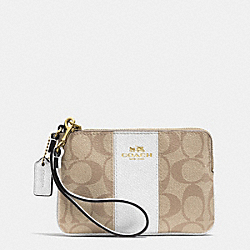 COACH F64233 Corner Zip Wristlet In Signature Coated Canvas With Leather IMITATION GOLD/LIGHT KHAKI/CHALK