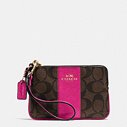 COACH F64233 Corner Zip Wristlet In Signature Coated Canvas With Leather IMITATION GOLD/BROWN/PINK RUBY