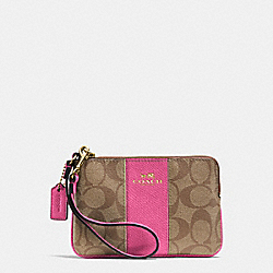COACH F64233 Corner Zip Wristlet In Signature Coated Canvas With Leather IMITATION GOLD/KHAKI/DAHLIA