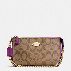 COACH F64234 Large Wristlet 19 In Signature IMITATION GOLD/KHAKI/PLUM