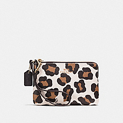 COACH F64238 Corner Zip Wristlet In Ocelot Print Haircalf LIGHT GOLD/CHALK MULTI