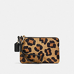 COACH F64238 Corner Zip Wristlet In Ocelot Print Haircalf IMITATION GOLD/NEUTRAL