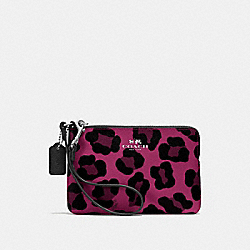 COACH F64238 Corner Zip Wristlet In Ocelot Print Coated Canvas SILVER/CRANBERRY