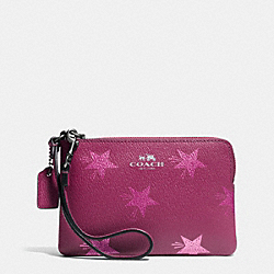COACH F64239 Corner Zip Wristlet In Star Canyon Print Coated Canvas ANTIQUE NICKEL/CRANBERRY