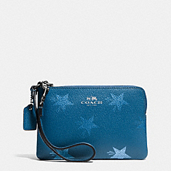 COACH F64239 Corner Zip Wristlet In Star Canyon Print Coated Canvas ANTIQUE NICKEL/SLATE