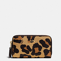 COACH F64241 Double Zip Coin Case In Ocelot Print Haircalf IMITATION GOLD/NEUTRAL
