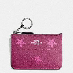 KEY POUCH WITH GUSSET IN STAR CANYON PRINT COATED CANVAS - f64246 - ANTIQUE NICKEL/CRANBERRY