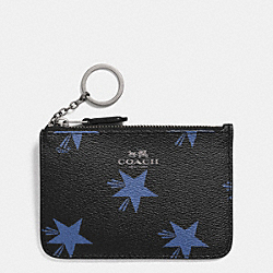 COACH F64246 Key Pouch With Gusset In Star Canyon Print Coated Canvas QB/BLUE MULTICOLOR