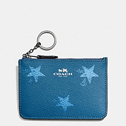COACH F64246 Key Pouch With Gusset In Star Canyon Print Coated Canvas ANTIQUE NICKEL/SLATE