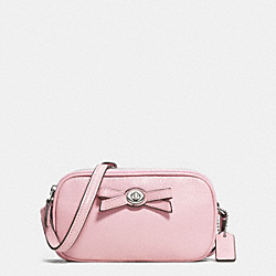 COACH F64248 - TURNLOCK BOW CROSSBODY POUCH IN PEBBLE LEATHER SILVER/PETAL