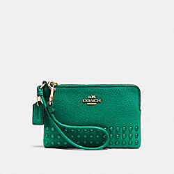 COACH F64252 - CORNER ZIP WRISTLET WITH LACQUER RIVETS LI/FOREST