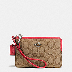 COACH F64283 Corner Zip Wristlet In Signature SILVER/KHAKI/TRUE RED
