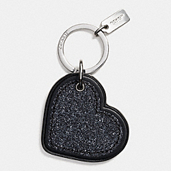 COACH F64352 Glitter Heart Key Ring SILVER/BLACK