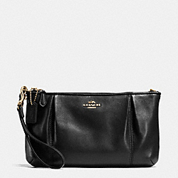 COACH F64369 Colette Zip Top Wristlet In Calf Leather LIGHT GOLD/BLACK