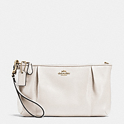 COACH F64369 Colette Zip Top Wristlet In Calf Leather LIGHT GOLD/CHALK