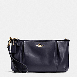 COACH F64369 Colette Zip Top Wristlet In Calf Leather LIGHT GOLD/MIDNIGHT