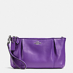 COACH F64369 Colette Zip Top Wristlet In Calf Leather SILVER/PURPLE IRIS