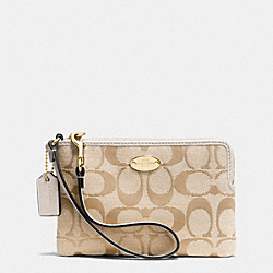 COACH F64375 Corner Zip Wristlet In Signature IMITATION GOLD/LIGHT KHAKI/CHALK
