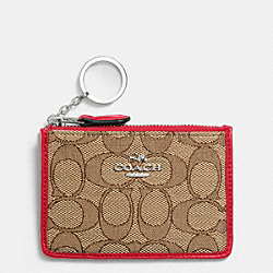 COACH F64435 Mini Skinny Id Case In Signature SILVER/KHAKI/TRUE RED
