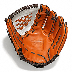 COACH F64496 Heritage Baseball Leather Colorblocked Glove BONFIRE/PARCHMENT