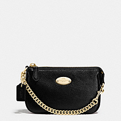 COACH F64571 Small Wristlet 15 In Pebble Leather IMITATION GOLD/BLACK