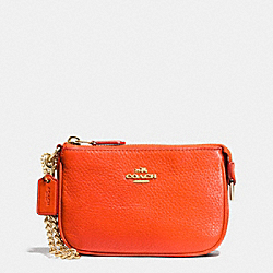 COACH F64571 Small Wristlet 15 In Pebble Leather IMITATION GOLD/PEPPERPER