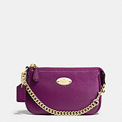 COACH F64571 Small Wristlet 15 In Pebble Leather IMITATION GOLD/PLUM