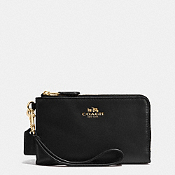 COACH F64581 Double Corner Zip Wristlet In Leather IMITATION GOLD/BLACK
