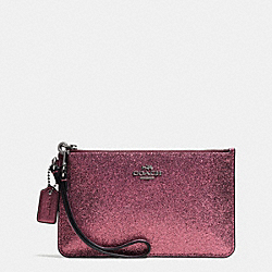 COACH F64585 Small Wristlet In Glitter Fabric ANTIQUE NICKEL/METALLIC CHERRY