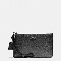 COACH F64585 Small Wristlet In Glitter Fabric SILVER/BLACK