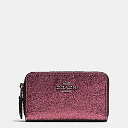 COACH F64587 Small Double Zip Coin Case In Glitter Fabric ANTIQUE NICKEL/METALLIC CHERRY