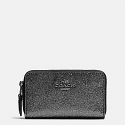 COACH F64587 Small Double Zip Coin Case In Glitter Fabric SILVER/BLACK