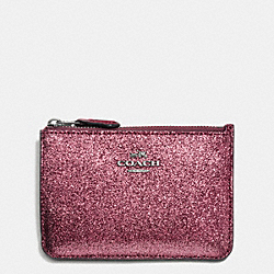 COACH F64588 Key Pouch With Gusset In Glitter Fabric ANTIQUE NICKEL/METALLIC CHERRY