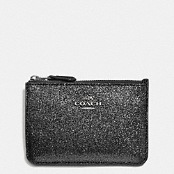 COACH F64588 Key Pouch With Gusset In Glitter Fabric SILVER/BLACK