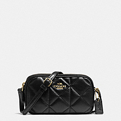 COACH F64614 Crossbody Pouch In Quilted Leather IMITATION GOLD/BLACK