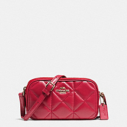 COACH F64614 - CROSSBODY POUCH IN QUILTED LEATHER IMITATION GOLD/CLASSIC RED
