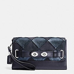 BLAKE CLUTCH IN PATCHWORK LEATHER - f64639 - SILVER/BLUE MULTICOLOR