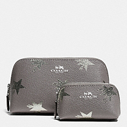 COACH F64644 Cosmetic Case Set In Star Canyon Print Coated Canvas SILVER/SILVER