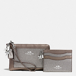 COACH F64649 Charm Corner Zip Wristlet And Card Case Set In Leather SILVER/SILVER MULTI