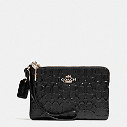 COACH F64652 Corner Zip Wristlet In Signature Debossed Patent Leather IMITATION GOLD/BLACK