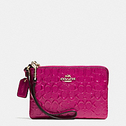 COACH F64652 Corner Zip Wristlet In Signature Debossed Patent Leather IMITATION GOLD/CRANBERRY