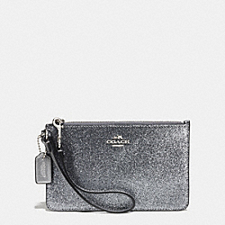 COACH F64670 Small Wristlet In Glitter Fabric SILVER/GUNMETAL