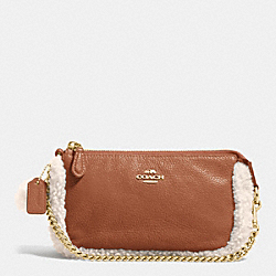 COACH F64705 Large Wristlet 19 In Leather And Shearling IMITATION GOLD/SADDLE/NATURAL