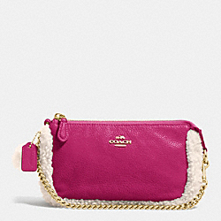 COACH F64705 Large Wristlet 19 In Leather And Shearling IMITATION GOLD/CRANBERRY/NATURAL